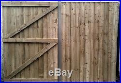 10 FT Wooden garden Gate, Driveway gate, Double Gate, Featheredge Gate Heavy Duty