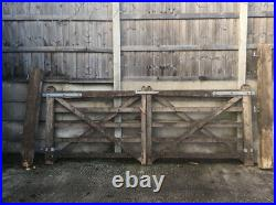 10ft Wide Solid Wooden Dual Swing Driveway Gates With Posts & Hardware