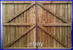 11 ft Wooden garden Gate, Driveway gate, Double Gate, Featheredge Gate Heavy Duty