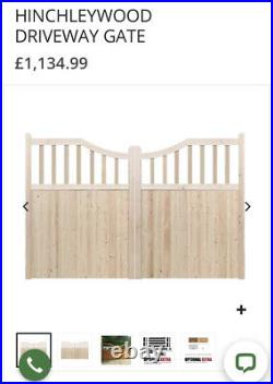 12ft 3.57m Double wooden driveway gates 56 1.67m high with hinges Used