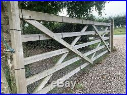 5 Bar Wooden Timber Farm Field Entrance Driveway Gate 12ft wide X 4ft high