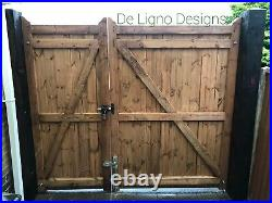 Bespoke Heavy Duty Wooden Flat Top Driveway Gates Redwood