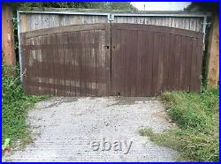Cost £2500 Used Wooden Driveway Gates Entrance Gates Heavy With Hinges