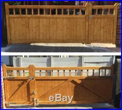 Cottage Style Timber / Wooden / 3/4 + 1/4 / Offset Split / Driveway Gates