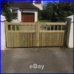 Cottage Window Top Timber Entrance Gates Bespoke Wooden Driveway Gates Treated