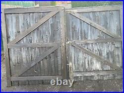 Double wooden driveway gates