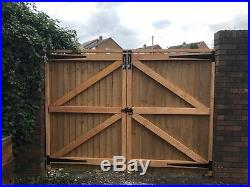 Double wooden driveway gates (PROPERLY BRACED & STAINED) To Fit Any Opening