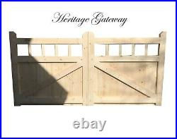 Drive gate handmade wooden cottage style driveway gates mortise wooden spindle