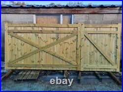 Driveway gate H5ft W12ft (4ft+8ft) Heavy Duty Redwood Treated Wooden Gate