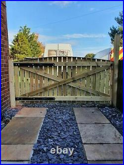 Driveway gate H5ft W12ft (8ft+4ft) Heavy Duty Redwood Treated Wooden Gate