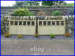 FORTRESS DRIVEWAY PRESSURE TREATED WOODEN GATES UNUSED 10' x 3' STRANRAER AREA