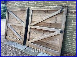 Feather Edge Double Wooden Garden Driveway Gates. Used But Very Serviceable