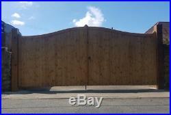 Heavy Duty Swan Neck Wooden Driveway Gates Timber Double Entrance Bespoke