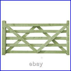 Heavy Duty Wooden Driveway Gate Field Style Gate Tanalised Green Treated 5 Bar