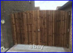 Heavy Duty Wooden Featheredge Fully Framed Driveway Gates Round Top 180 X 180cm