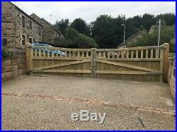 Inverted Olympic Curve Timber Entrance Gates Bespoke Wooden Driveway Gates