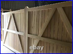 Large Wooden Driveway Gates Flat Top Siberian Larch Custom Made The Cottage Gate