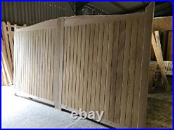 Large Wooden Driveway Gates Solid Swan Neck Siberian Larch Custom The Manor Gate