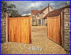 Manor Wooden Iroko Driveway Gates Framed, Ledge & Braced Mortice & Tenoned