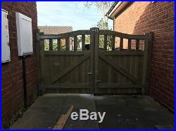 Olympic Curve Timber Entrance Gates Bespoke Wooden Driveway Gates. Treated