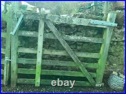 Pair 5' Oak Hardwood Field Driveway Wooden Gates