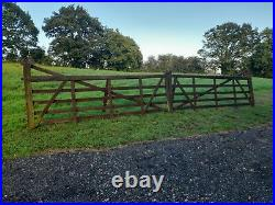 Pair/Double Solid Wooden Farm/Ranch Style Field/Entrance/Driveway Gates