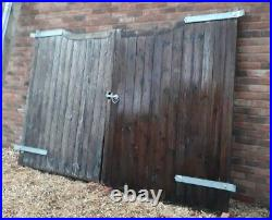 Pair Of Wooden Driveway Gates And Posts With Galvanised Fittings