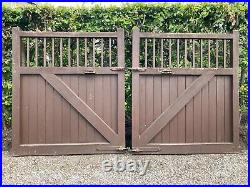 Pair of Hardwood Timber/Wooden Driveway Gates 3.1m Total Width