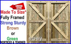 Pressure Treated Feather Edge Double Driveway Wooden Garden Gates Brown or Green
