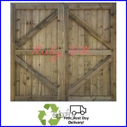 Pressure Treated Feather Edge Double Driveway Wooden Garden Gates Entrance Gates
