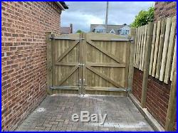 Solid Bow Timber Entrance Gates Bespoke Wooden Driveway Gates