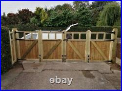 Tanalised Wooden Bi-folding Driveway Gates 10ft wide X 5ft high In Cottage Style