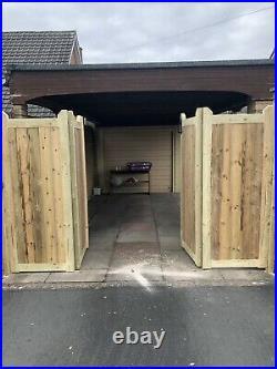 Tanalised Wooden Bi-folding Driveway Gates 10ft wide X 6ft high