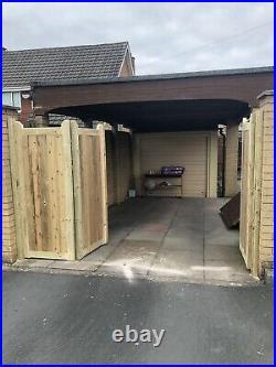 Tanalised Wooden Bi-folding Driveway Gates 11ft wide X 5ft high