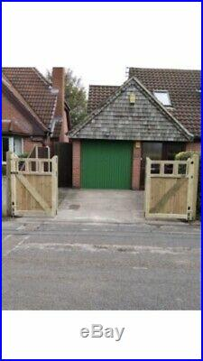 Tanalised Wooden Bi-folding Driveway Gates 12ft wide X 4ft high In Cottage Style