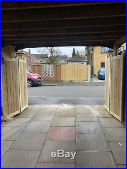 Tanalised Wooden Bi-folding Driveway Gates 12ft wide X 5ft high