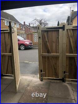 Tanalised Wooden Bi-folding Driveway Gates 14ft wide X 4ft high