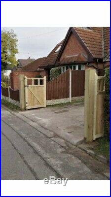 Tanalised Wooden Bi-folding Driveway Gates 14ft wide X 5ft high In Cottage Style