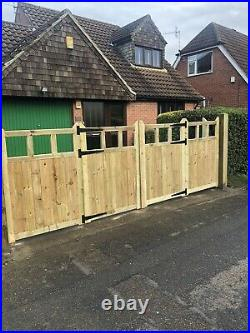 Tanalised Wooden Bi-folding Driveway Gates 14ft wide X 6ft high In Cottage Style
