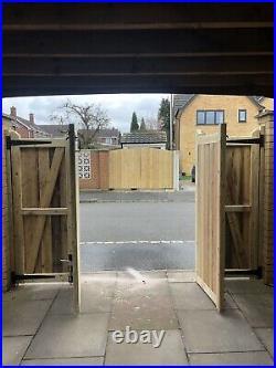 Tanalised Wooden Bi-folding Driveway Gates 15ft wide X 4ft high