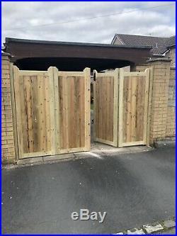 Tanalised Wooden Bi-folding Driveway Gates 16ft wide X 6ft high