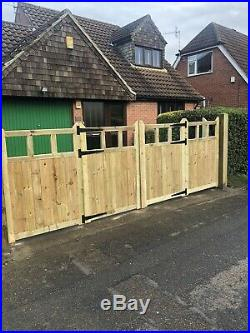 Tanalised Wooden Bi-folding Driveway Gates 16ft wide X 6ft high In Cottage Style