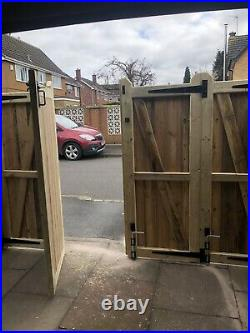 Tanalised Wooden Bi-folding Driveway Gates 4510mm wide X 6ft high For Bluelion