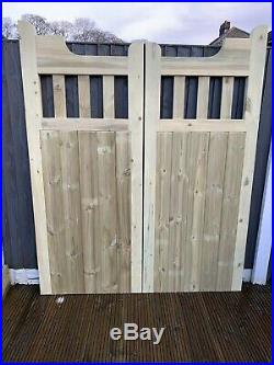 Trafford Window Top Timber Entrance Gates Bespoke Wooden Driveway Gate Treated
