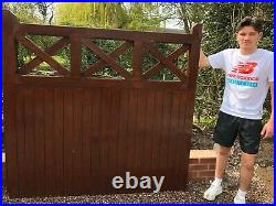 Used 12' wooden double driveway gates and matching 3' pedestrial gate