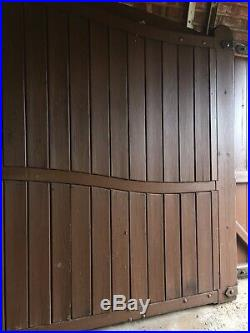 WOODEN PRIVACY DOUBLE DRIVEWAY GATES VERY HEAVY DUTY PAIR HARD WOOD Aprx 12ft 8