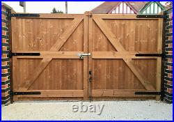 WOODEN TREATED / THERMOWOOD PAIR OF DRIVEWAY GARDEN GATES'WANSTROW' (redwine)