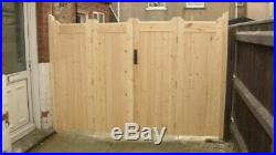Wooden Bi-folding Driveway Gates 14ft wide X 6ft high