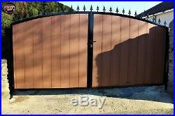 Wooden Clad Driveway Gate #102 Heavy Duty Steel! Composite Wood No Maintenance