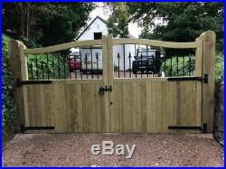 Wooden Driveway Entrance Gate PAIR of Hartlands (with bars and finials)